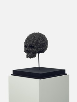 Damien Hirst, Fear of Death (Half Skull), 2007 Flies, resin, aluminum, and glass, 16 ⅜ × 12 × 12 inches (41.5 × 30.5 × 30.5 cm), 1 of 30 unique versions© Damien Hirst and Science Ltd. All rights reserved, DACS 2021. Photo: Prudence Cuming Associates