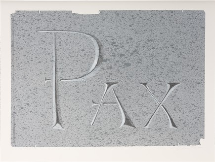 Ed Ruscha, Pax (Dedicated to the Idea of Peace), 2021 Acrylic and pencil on museum board, 15 × 20 inches (38.1 × 50.8 cm)© Ed Ruscha