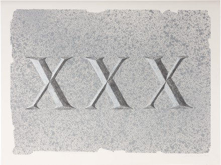 Ed Ruscha, XXX (Dedicated to a Jug of Whiskey), 2021 Acrylic and pencil on museum board, 15 × 20 inches (38.1 × 50.8 cm)© Ed Ruscha