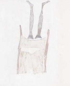 Georg Baselitz, Der Tag ist lang, 2021 Acrylic, dispersion adhesive, fabric, and nylon stockings on canvas, 118 ⅛ × 98 ½ inches (300 × 250 cm)© Georg Baselitz. Photo: Jochen Littkemann