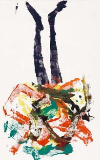 Georg Baselitz, Leneh, 2020 Oil on canvas, 82 ¾ × 52 inches (210 × 132 cm)© Georg Baselitz. Photo: Jochen Littkemann