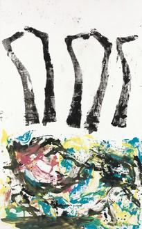 Georg Baselitz, Ata lajn, 2020 Oil on canvas, 120 ⅛ × 74 ⅞ inches (305 × 190 cm)© Georg Baselitz. Photo: Jochen Littkemann