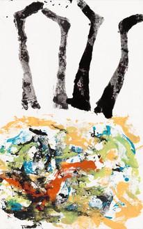 Georg Baselitz, Leneh kentlerah fran, 2020 Oil on canvas, 82 ¾ × 52 inches (210 × 132 cm)© Georg Baselitz. Photo: Jochen Littkemann