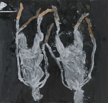 Georg Baselitz, Displaced Persons, 2020 Oil, dispersion adhesive, and nylon stockings on canvas, 116 ⅛ × 122 ⅛ inches (195 × 310 cm)© Georg Baselitz. Photo: Jochen Littkemann