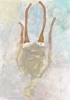 Georg Baselitz, Lady Art Painting I, 2020 Oil, dispersion adhesive, and nylon stockings on canvas, 118 ⅛ × 82 ⅞ inches (300 × 210 cm)© Georg Baselitz. Photo: Jochen Littkemann