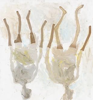 Georg Baselitz, Springtime of the Black Mountain Lake, 2020 Oil, dispersion adhesive, and nylon stockings on canvas, 126 × 118 ⅛ inches (320 × 300 cm)© Georg Baselitz. Photo: Jochen Littkemann