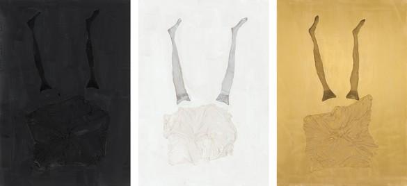Georg Baselitz, Der katalanische Raucher: Osborne | Wer wirft den ersten Stein | mallorquinischer Karren, 2021 Oil, gold pigment, dispersion adhesive, fabric, and nylon stockings on canvas, in 3 parts, each: 118 ⅛ × 82 ¾ inches (300 × 210 cm)© Georg Baselitz. Photo: Jochen Littkemann