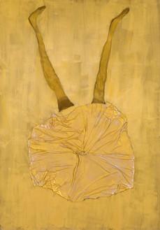 Georg Baselitz, Spanisches Bild, 2021 Oil, gold pigment, dispersion adhesive, fabric, and nylon stockings on canvas, 118 ⅛ × 82 ¾ inches (300 × 210 cm)© Georg Baselitz. Photo: Jochen Littkemann