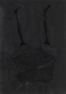 Georg Baselitz, Der katalanische Raucher: Osborne | Wer wirft den ersten Stein | mallorquinischer Karren, 2021 (detail) Oil, gold pigment, dispersion adhesive, fabric, and nylon stockings on canvas, in 3 parts, each: 118 ⅛ × 82 ¾ inches (300 × 210 cm)© Georg Baselitz. Photo: Jochen Littkemann