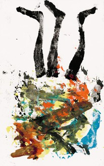 Georg Baselitz, Kageli kann mankauf, 2020 Oil on canvas, 82 ¾ × 52 inches (210 × 132 cm)© Georg Baselitz. Photo: Jochen Littkemann