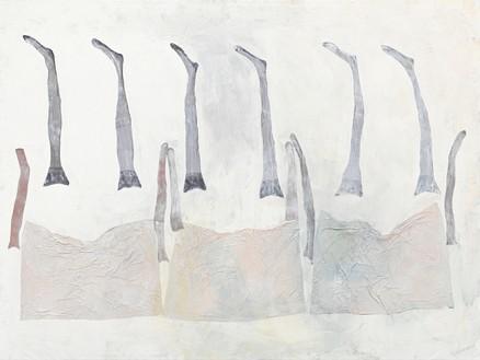 Georg Baselitz, Spaziergang am Meer, 2021 Acrylic, dispersion adhesive, fabric, and nylon stockings on canvas, 118 ⅛ × 157 ½ inches (300 × 400 cm)© Georg Baselitz. Photo: Jochen Littkemann