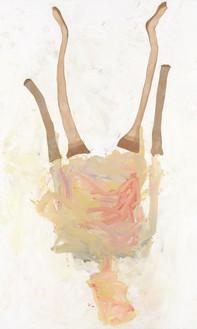 Georg Baselitz, Lady Art Painting II, 2020 Oil, dispersion adhesive, and nylon stockings on canvas, 118 ⅛ × 70 ⅞ inches (300 × 180 cm)© Georg Baselitz. Photo: Jochen Littkemann