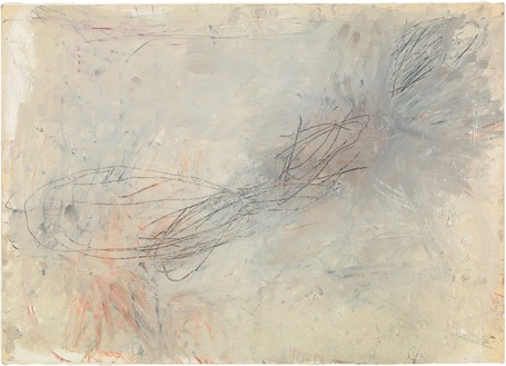 Cy Twombly, Untitled, 1957 Oil-based house paint, wax crayon, lead pencil, and pastel on paper, laid down canvas, 19 ½ × 27 ½ inches (49.5 × 69.9 cm)© Cy Twombly Foundation