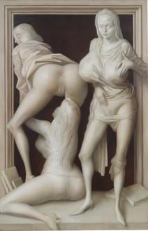 John Currin, Memorial, 2020 Oil on canvas, 62 × 40 inches (157.5 × 101.6 cm)© John Currin. Photo: Rob McKeever