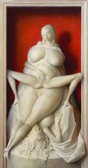 John Currin, Mantis, 2020 Oil on canvas, 68 × 36 inches (172.7 × 91.4 cm)© John Currin. Photo: Rob McKeever