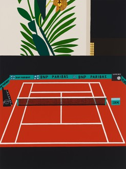 Jonas Wood, French Open with Orchid, 2021 Oil and acrylic on canvas, 88 × 66 inches (223.5 × 167.6 cm)© Jonas Wood. Photo: Marten Elder