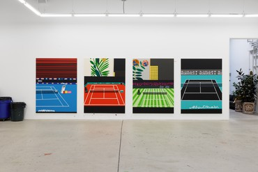 Four paintings of tennis courts by Jonas Wood in his studio in Los Angeles