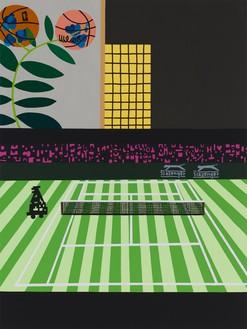 Jonas Wood, Wimbledon with Bball Orchid, 2021 Oil and acrylic on canvas, 88 × 66 inches (223.5 × 167.6 cm)© Jonas Wood. Photo: Marten Elder