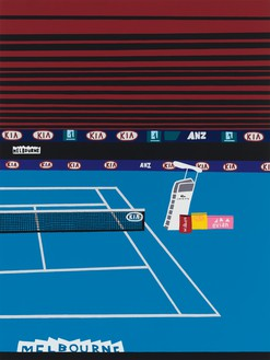 Jonas Wood, Australian Open with Red Lines, 2021 Oil and acrylic on canvas, 88 × 66 inches (223.5 × 167.6 cm)© Jonas Wood. Photo: Marten Elder