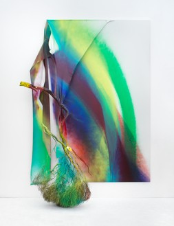 Katharina Grosse, Untitled, 2021 Acrylic on canvas and wood, 137 ⅜ × 97 ⅝ × 31 ½ inches (349 × 248 × 80 cm)© Katharina Grosse and VG Bild-Kunst, Bonn, Germany 2021. Photo: Jens Ziehe
