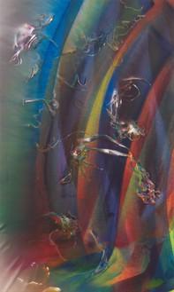Katharina Grosse, Untitled, 2021 Acrylic on canvas, 131 ⅞ × 78 ¾ inches (335 × 200 cm)© Katharina Grosse and VG Bild-Kunst, Bonn, Germany 2021. Photo: Jens Ziehe
