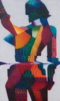 Kon Trubkovich, Female Figure (After Popova), 2021 Oil on canvas, 81 × 48 inches (205.7 × 121.9 cm)© Kon Trubkovich. Photo: Rob McKeever