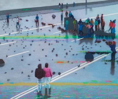 Kon Trubkovich, Barricade, 2021 Oil on canvas, 77 × 93 ½ inches (195.6 × 237.5 cm)© Kon Trubkovich. Photo: Rob McKeever