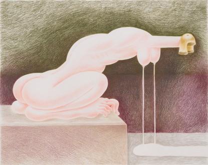 Louise Bonnet, Leaking Sphinx, 2021 Colored pencil on paper, 19 × 24 inches (48.3 × 61 cm)© Louise Bonnet. Photo: Jeff McLane