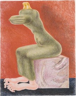 Louise Bonnet, Seated Sphinx Pink Marble, 2021 Colored pencil on paper, 24 × 19 inches (61 × 48.3 cm)© Louise Bonnet. Photo: Jeff McLane