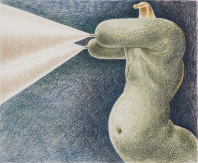 Louise Bonnet, Green Sphinx with Projections, 2021 Colored pencil on paper, 14 × 17 inches (35.6 × 43.2 cm)© Louise Bonnet. Photo: Jeff McLane