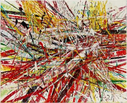 Mark Grotjahn, Untitled (Capri 53.88), 2021 Oil on cardboard mounted on linen, 55 × 68 inches (139.7 × 172.7 cm)© Mark Grotjahn. Photo: Douglas M. Parker Studio