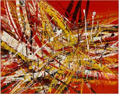 Mark Grotjahn, Untitled (Capri 53.77), 2020 Oil on cardboard mounted on linen, 50 × 63 inches (127 × 160 cm)© Mark Grotjahn. Photo: Douglas M. Parker Studio