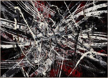 Mark Grotjahn, Untitled (Capri 53.71), 2020 Oil on cardboard mounted on linen, 37 ½ × 52 inches (95.3 × 132.1 cm)© Mark Grotjahn. Photo: Douglas M. Parker Studio