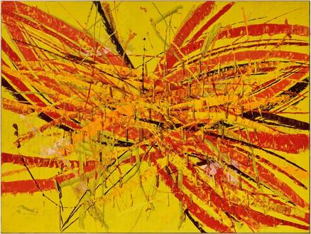 Mark Grotjahn, Untitled (Capri 53.63), 2020 Oil on cardboard mounted on linen, 66 ¼ × 88 ¼ inches (168.3 × 224.2 cm)© Mark Grotjahn. Photo: Ruben Diaz