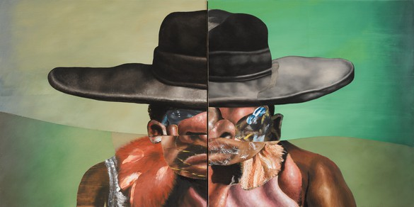 Nathaniel Mary Quinn, The Lesson of Cut-Rate Liquor, 2021 Oil paint, paint stick, oil pastel, soft pastel, gouache, and charcoal on linen canvas over wood panel, in 2 parts, overall: 36 × 72 inches (91.4 × 182.9 cm)© Nathaniel Mary Quinn. Photo: Rob McKeever