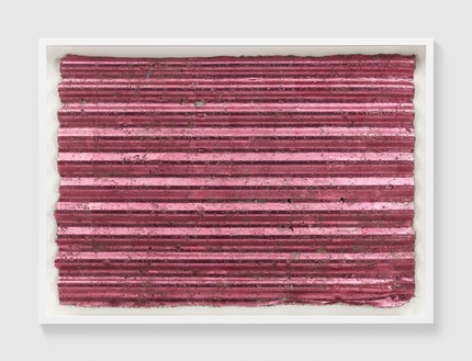 Rachel Whiteread, Untitled (Corrugated Pink), 2017 Colored silver leaf and papier-mâché, 30 ⅜ × 43 ⅜ inches (77 × 110 cm)© Rachel Whiteread. Photo: Prudence Cuming Associates
