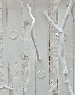 Rachel Whiteread, Poltergeist, 2020 (detail) Corrugated iron, beech, pine, oak, household paint, and mixed media, 120 ⅛ × 110 ¼ × 149 ⅝ inches (305 × 280 × 380 cm)© Rachel Whiteread. Photo: Prudence Cuming Associates