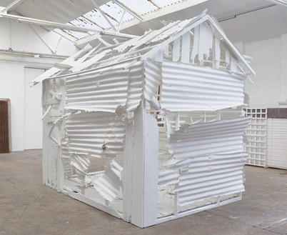 Rachel Whiteread, Poltergeist, 2020 Corrugated iron, beech, pine, oak, household paint, and mixed media, 120 ⅛ × 110 ¼ × 149 ⅝ inches (305 × 280 × 380 cm)© Rachel Whiteread. Photo: Prudence Cuming Associates
