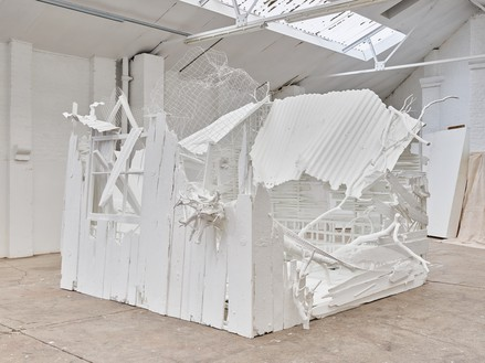 Rachel Whiteread, Doppelgänger, 2020–21 Corrugated iron, beech, pine, oak, household paint, and mixed media, 110 ¼ × 175 ¼ × 177 ¼ inches (280 × 445 × 450 cm)© Rachel Whiteread. Photo: Prudence Cuming Associates