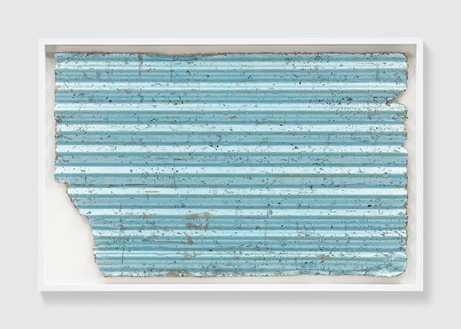 Rachel Whiteread, Untitled (Corrugated Blue), 2017 Colored silver leaf and papier-mâché, 31 ⅞ × 50 ⅜ inches (81 × 128 cm)© Rachel Whiteread. Photo: Prudence Cuming Associates