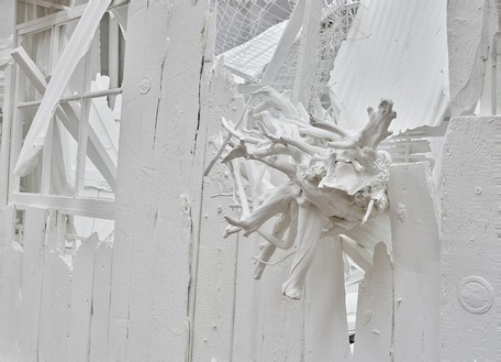 Rachel Whiteread, Doppelgänger, 2021 (detail) Corrugated iron, beech, pine, oak, household paint, and mixed media, 110 ¼ × 175 ¼ × 177 ¼ inches (280 × 445 × 450 cm)© Rachel Whiteread. Photo: Prudence Cuming Associates