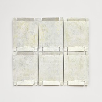 Rachel Whiteread, Untitled (Yellow Relief), 2020–21 Hand-painted bronze, in 6 parts, overall: 39 ¾ × 44 ¾ inches (101 × 113.5 cm)© Rachel Whiteread. Photo: Prudence Cuming Associates