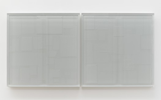 Rachel Whiteread, Untitled (Noticeboard), 2021 Resin and steel, in 2 parts, overall: 47 ⅞ × 94 ⅞ × 4 ⅛ inches (121.5 × 241 × 10.5 cm)© Rachel Whiteread. Photo: Prudence Cuming Associates