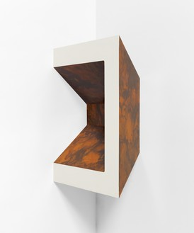 Richard Artschwager, Untitled, 1967/1984 Formica on wood, 26 ⅞ × 19 ⅞ × 10 ¾ inches (68.2 × 50.3 × 27.3 cm)© 2021 The Estate of Richard Artschwager/Artists Rights Society (ARS), New York. Photo: Annik Wetter