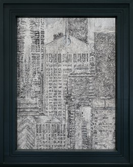 Richard Artschwager, AT&T Building in the Year 2000, 1987 Acrylic on Celotex, in painted wood artist's frame, 54 ⅝ × 43 ¾ inches (138.7 × 111 cm)© 2021 The Estate of Richard Artschwager/Artists Rights Society (ARS), New York. Photo: Julien Grémaud