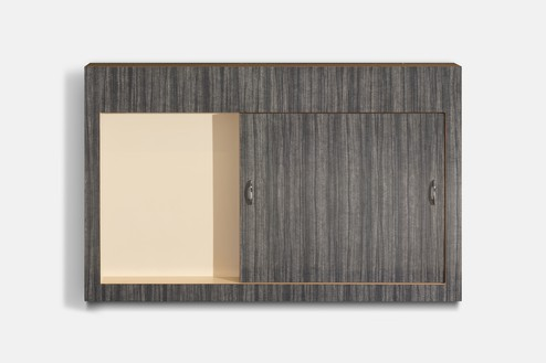 Richard Artschwager, Sliding Door, 1964 Formica on wood with metal handles, 41 ⅝ × 66 ⅛ × 6 ⅛ inches (105.7 × 168 × 15.6 cm)© 2021 The Estate of Richard Artschwager/Artists Rights Society (ARS), New York. Photo: Roland Schmidt