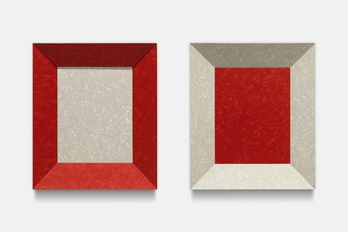Richard Artschwager, Double Color Study, 1965 Formica on wood, in 2 parts, each: 16 ⅛ × 13 ¾ × 4 ⅛ inches (41 × 35 × 10.5 cm)© 2021 The Estate of Richard Artschwager/Artists Rights Society (ARS), New York. Photo: Roland Schmidt