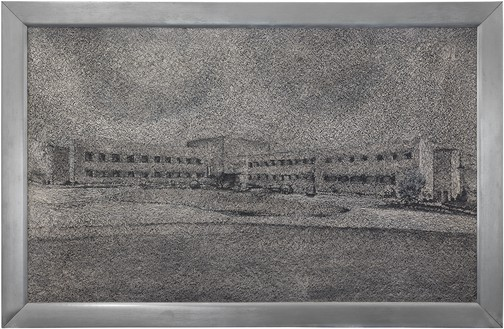 Richard Artschwager, Industrial Complex, 1967 Acrylic on Celotex, in metal artist's frame, 22 ¼ × 34 ⅛ × 1 ¼ inches (56.5 × 86.5 × 3 cm)© 2021 The Estate of Richard Artschwager/Artists Rights Society (ARS), New York