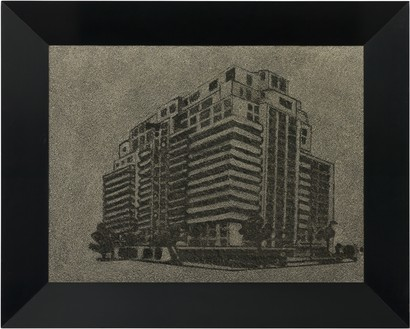Richard Artschwager, Highrise, 1965 Acrylic on Celotex, in Formica and wood artist's frame, 24 × 30 × 3 ⅛ inches (61 × 76 × 8 cm)© 2021 The Estate of Richard Artschwager/Artists Rights Society (ARS), New York