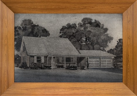 Richard Artschwager, Tract Home, 1964 Acrylic on Celotex, in Formica and wood artist's frame, 48 ¼ × 68 ½ × 5 ½ inches (122.6 × 174 × 14 cm)© 2020 Richard Artschwager/Artists Rights Society (ARS), New York. Photo: Julien Grémaud